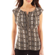 Worthington® Short-Sleeve Pleated Button-Front Top - Petite