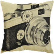 Idea Nuova Vintage Camera Linen Decorative Pillow