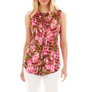 Liz Claiborne Sleeveless Button-Front Shell Blouse - Petite