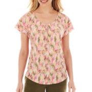 Liz Claiborne® Flutter-Sleeve Tee - Petite