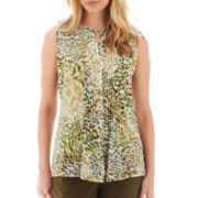 Liz Claiborne® Sleeveless Pintucked Blouse - Petite