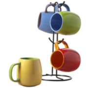 5-pc. Two-Tone Mug and Tree Set