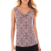 Liz Claiborne® Sleeveless Cowlneck Top - Tall