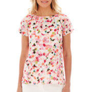 Liz Claiborne Short-Sleeve Floral Blouse - Tall