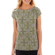 Liz Claiborne Cap-Sleeve Shoulder-Pleat Top