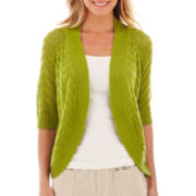 Liz Claiborne Elbow-Sleeve Open-Front Cardigan Sweater