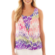 Liz Claiborne® Sleeveless Draped-Front Blouse - Tall