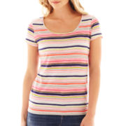 Liz Claiborne Short-Sleeve Cabana Striped Tee