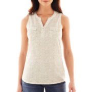 Liz Claiborne Sleeveless Henley - Tall