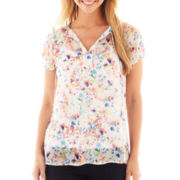 Liz Claiborne Short-Sleeve Floral Peasant Blouse with Cami