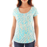 Liz Claiborne® Short-Sleeve Scoopneck Print Tee