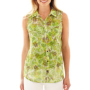Liz Claiborne Sleeveless Button-Front Blouse