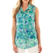 Liz Claiborne® Sleeveless Button-Front Blouse with Cami - Tall