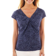 Liz Claiborne® Short-Sleeve Knot-Front Mesh Top – Tall