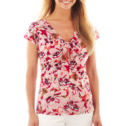 Liz Claiborne® Short-Sleeve Knot-Front Mesh Top - Tall