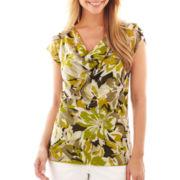 Liz Claiborne® Short-Sleeve Cowlneck Mesh Tee