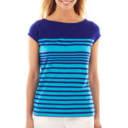 Liz Claiborne Short-Sleeve Striped Tee