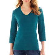St. John's Bay® Essential 3/4-Sleeve V-Neck Tee - Petite