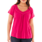St. John's Bay® Crochet-Trim V-Neck Top - Plus