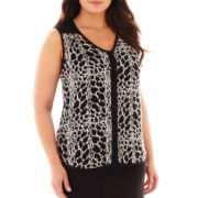 Worthington® Sleeveless Button-Front Blouse