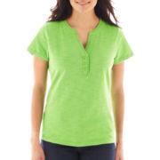 St. John's Bay® Short-Sleeve Ruffle V-Neck Top – Petite
