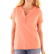 St. John's Bay® Short-Sleeve Ruffle V-Neck Top – Plus
