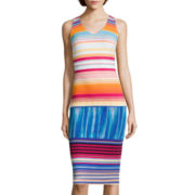 Worthington® Sleeveless Ottoman Striped Midi Dress