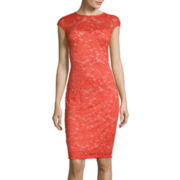 Worthington® Cap-Sleeve Lace Sheath Dress