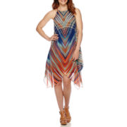 MSK Sleeveless Abstract Plaid Alternative-Hem Halter Dress