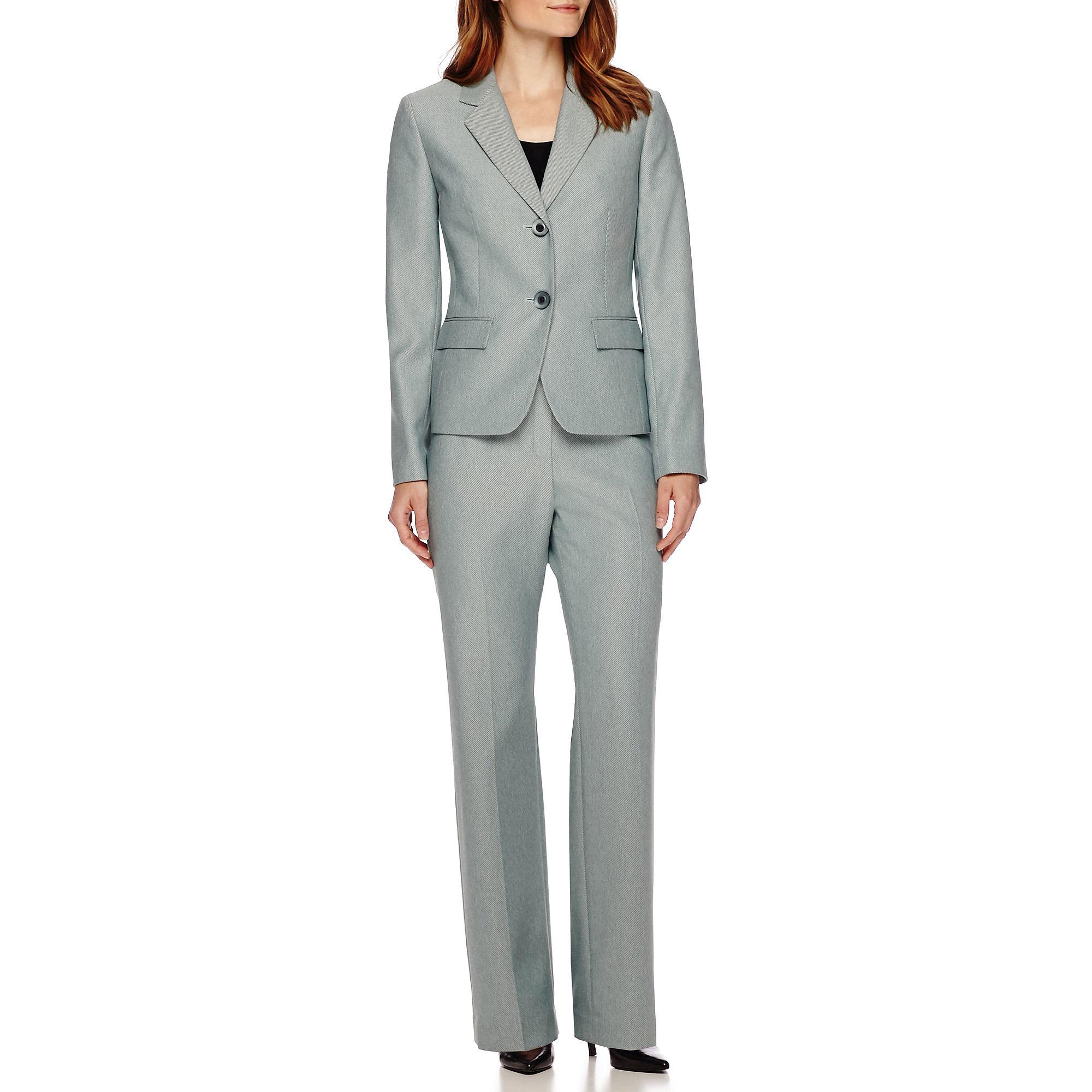 Le Suit Two-Button Twill Notch Lapel Jacket and Pant Suit plus size,  plus size fashion plus size appare