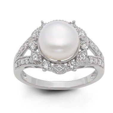 jcpenney.com | Cultured Freshwater Pearl & Lab-Created White Sapphire Sterling Silver Ring
