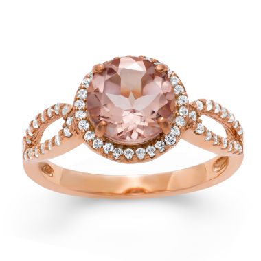 jcpenney.com | Simulated Morganite & Lab Created White Sapphire 14K Gold Over Silver Ring