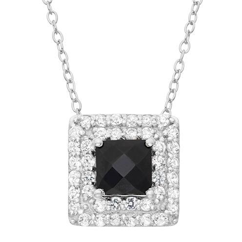 Genuine Black Onyx & Lab Created White Sapphire Sterling Silver Pendant
