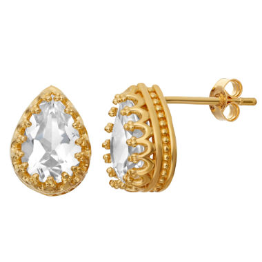 jcpenney.com | Lab-Created White Sapphire 14K Gold Over Silver Earrings