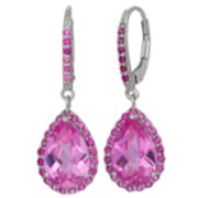 Lab-Created Pink Sapphire & Ruby Sterling Silver Earrings