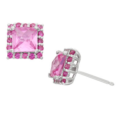 jcpenney.com | Lab Created Pink Sapphire & Lab Created White Sapphire Sterling Silver Earrings