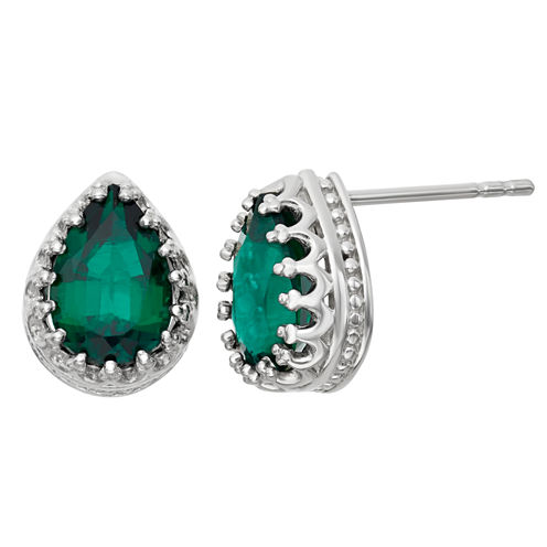Lab-Created Emerald Sterling Silver Earrings