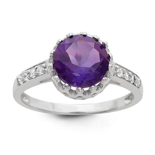 Sterling Silver Genuine Purple Amethyst Crown Ring