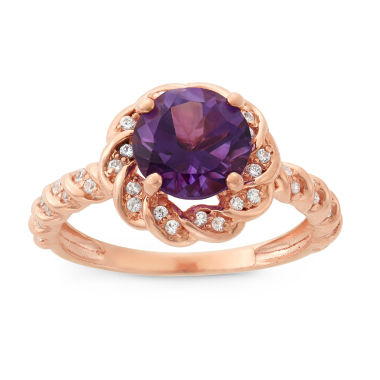 jcpenney.com | Genuine Amethyst & Lab-Created White Sapphire 14K Gold Over Silver Ring