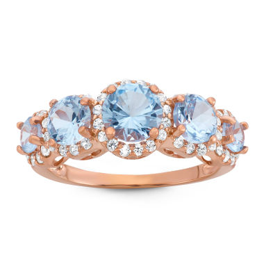 jcpenney.com | Lab-Created Aquamarine & White Sapphire 14K Gold Over Silver Ring