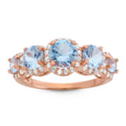 Lab-Created Aquamarine & White Sapphire 14K Gold Over Silver Ring