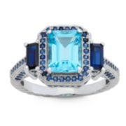 Genuine Swiss Blue Topaz & Lab Created Blue Sapphire Sterling Silver Ring