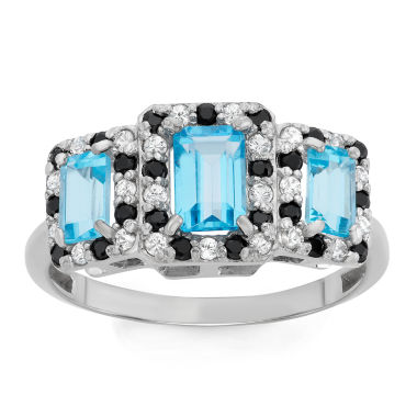 jcpenney.com | Genuine Swiss Blue Topaz & Genuine Black Spinel Sterling Silver Ring