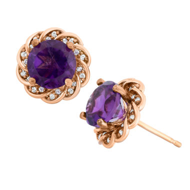 jcpenney.com | Genuine Amethyst & Lab-Created White Sapphire 14K Gold Over Silver Earrings
