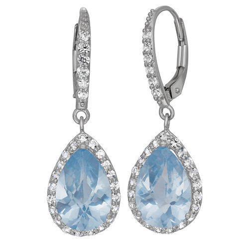 Lab-Created Aquamarine & White Sapphire Sterling Silver Earrings