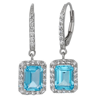 jcpenney.com | Genuine Swiss Blue Topaz & Lab-Created White Sapphire Sterling Silver Earrings