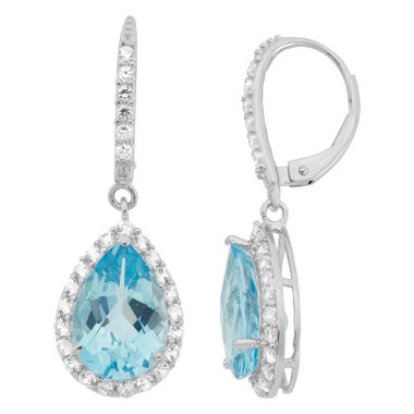 jcpenney.com | Genuine Sky Blue Topaz & Lab-Created White Sapphire Sterling Silver Earrings