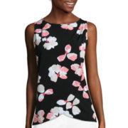 Liz Claiborne® Sleeveless Floral Drape Front Knit Top