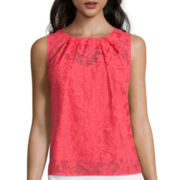 Liz Claiborne® Sleeveless Front-Pleat Burnout Shell