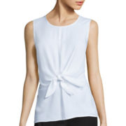 Liz Claiborne® Sleeveless Knot-Front Blouse - Tall